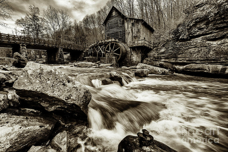 Glade Creek Mill Black and White by Thomas R Fletcher