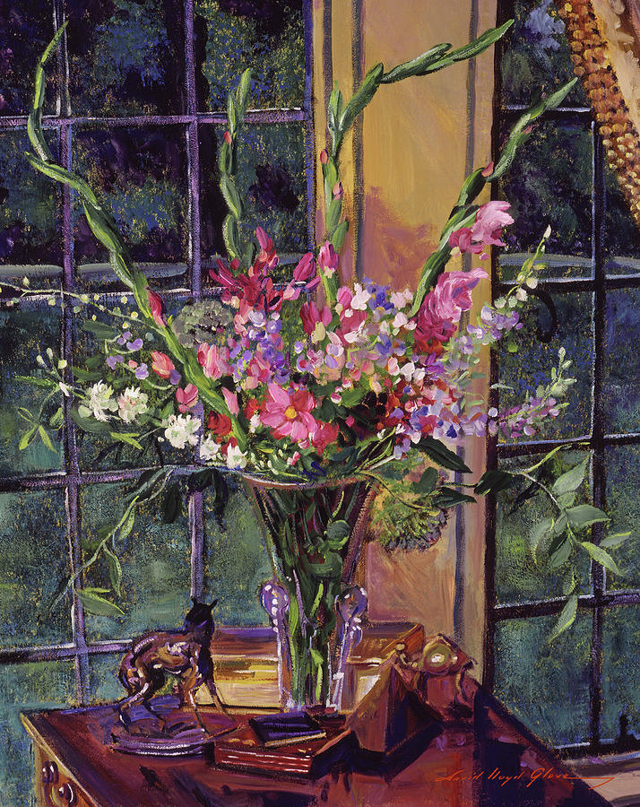 Gladiolas In Glass Painting