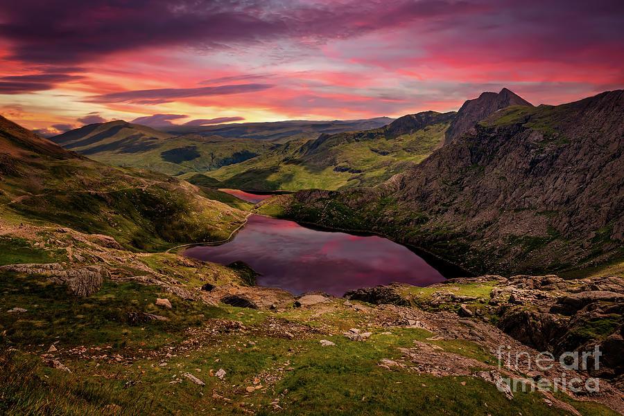 Glaslyn Lake Sunset Snowdonia by Adrian Evans