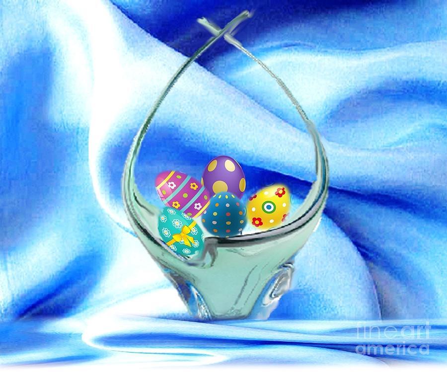 Glass Easter Egg Basket Mixed Media