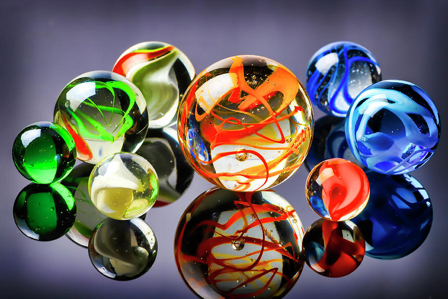 Glass Toy Marbles Reflection by Garry Gay