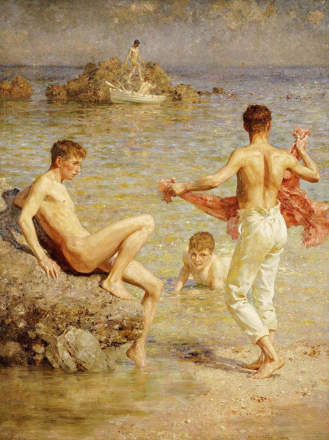 Henry Scott Tuke Painting - Gleaming Waters, 1910 by Henry Scott Tuke