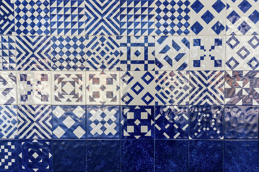 Glossy Modern Azulejos - Gleaming Geometric Patterns in Blue and White by Georgia Mizuleva