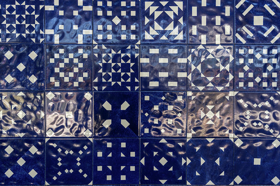 Glossy Modern Azulejos - Shimmering Geometric Patterns in Blue and White by Georgia Mizuleva