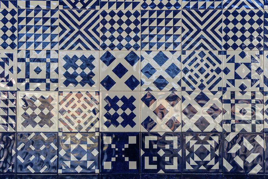 Glossy Modern Azulejos - Shimmering Geometric Patterns in White and Blue by Georgia Mizuleva