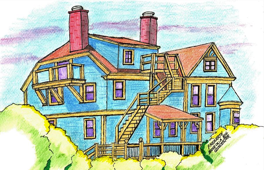 Gloucester House On A Hill Drawing