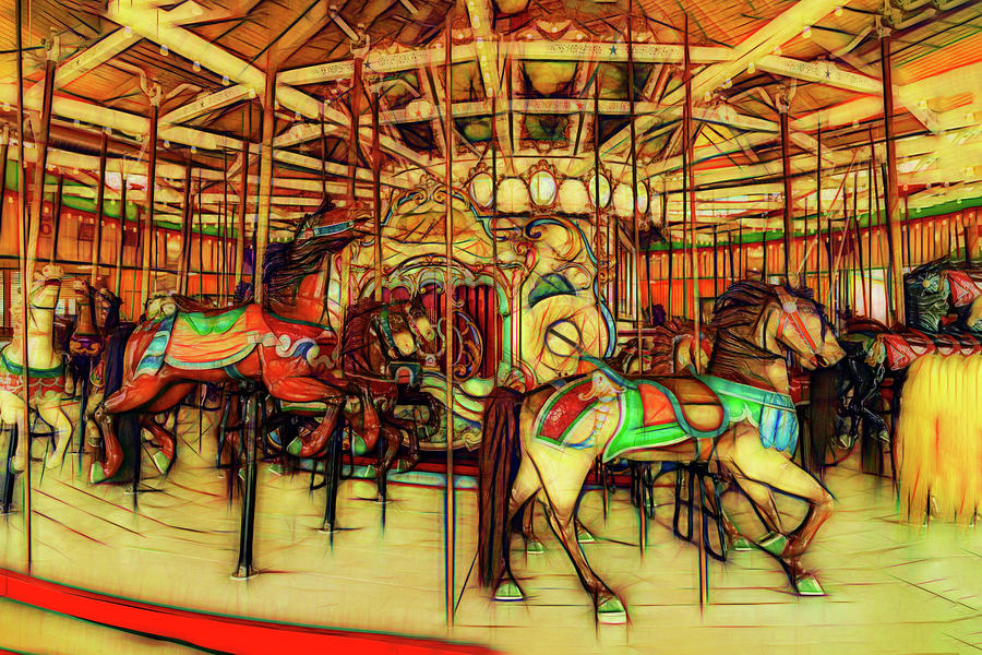 Glowing Coney Island Carousel  by Kay Brewer