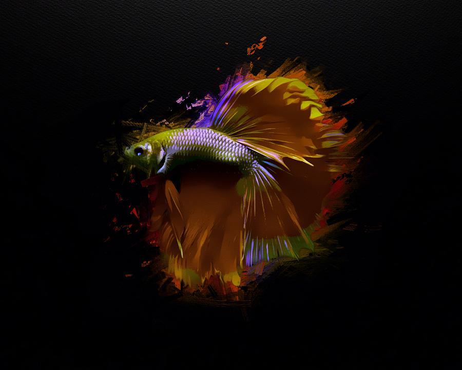 Glowing Gold Copper Brass Betta Fish Portrait Digital Art By Scott Wallace Digital Designs