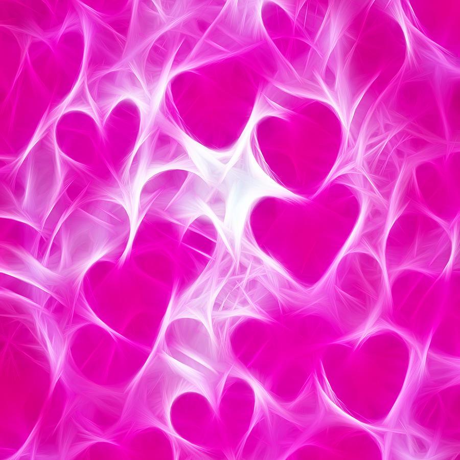 Glowing Hearts Digital Art
