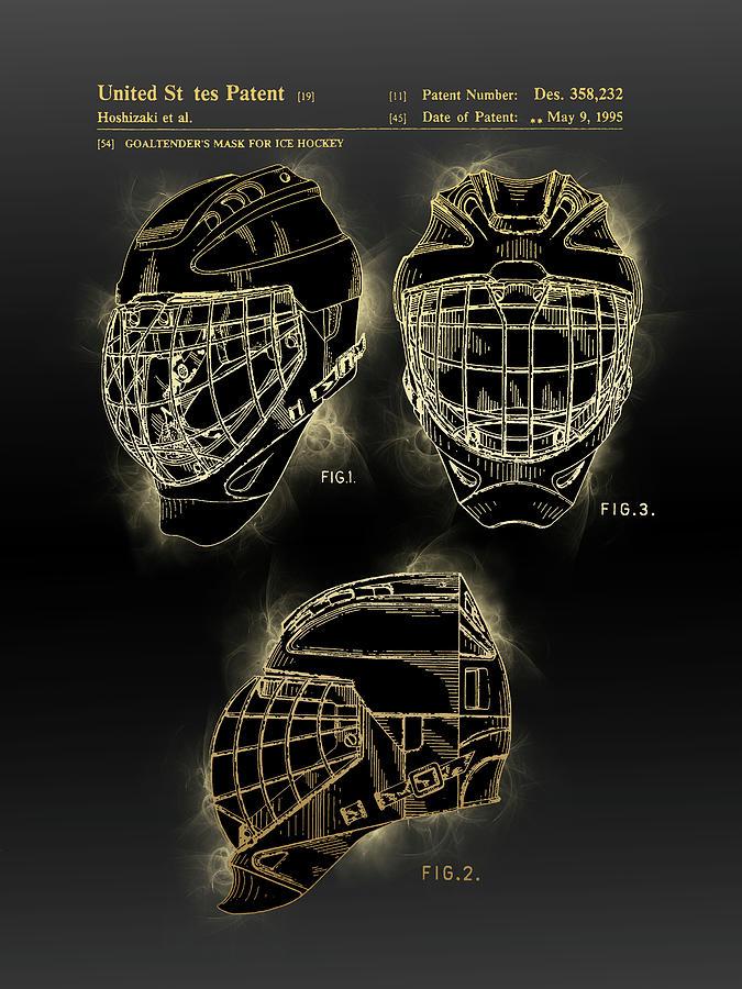 Goal Tender Mask Patent Black Gold Digital Art