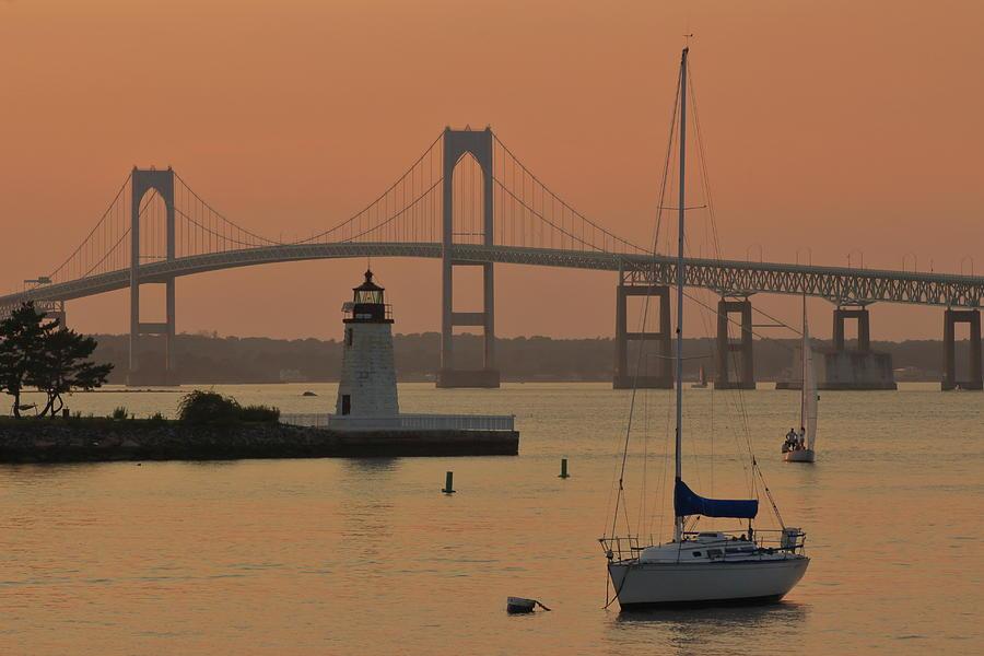 Goat Island Lighthouse And Newport Pell Bridge Photograph