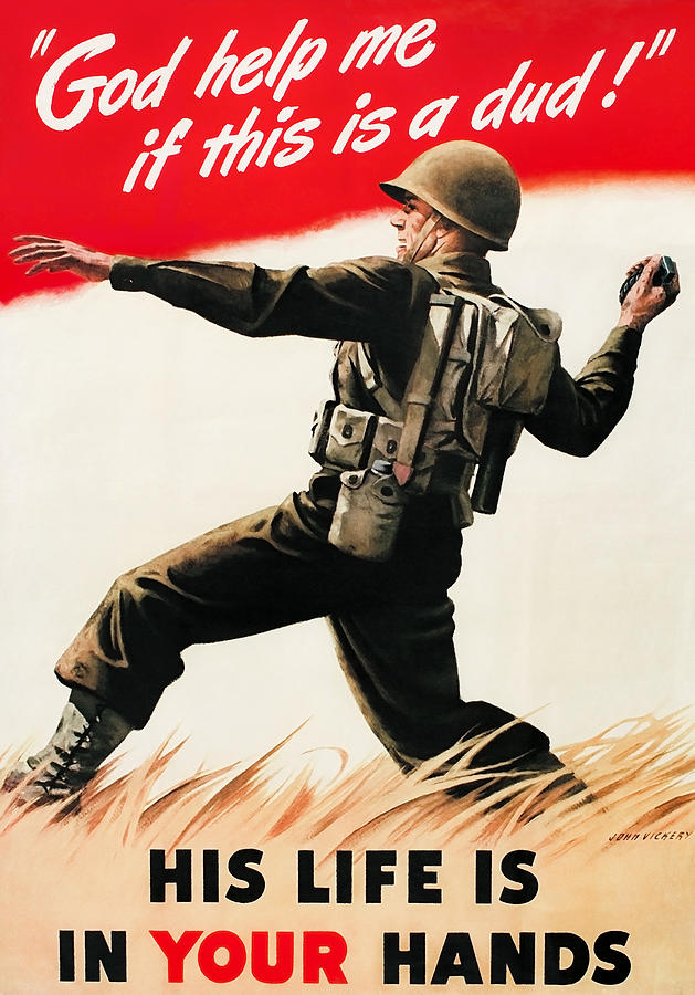 War Propaganda Painting - God Help Me If This Is A Dud - WW2 Propaganda  by War Is Hell Store