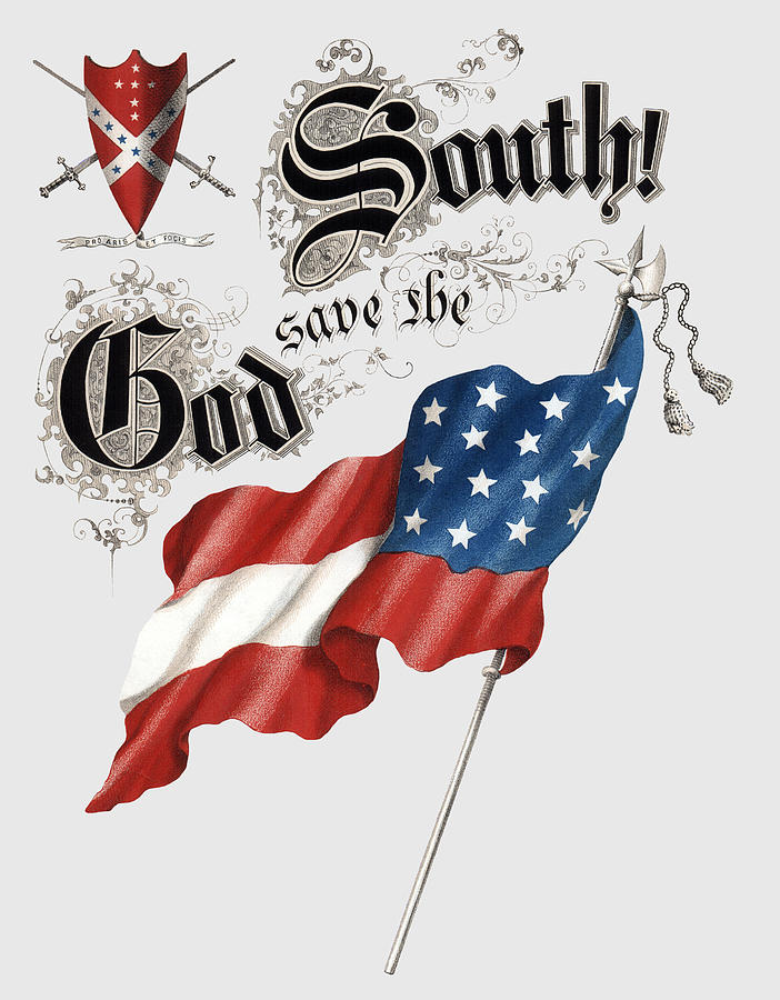 Civil War Photograph - GOD SAVE the SOUTH 1863 - CIVIL WAR - T-SHIRT by Daniel Hagerman