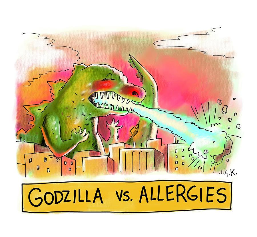 Godzilla vs Allergies Drawing by Jason Adam Katzenstein