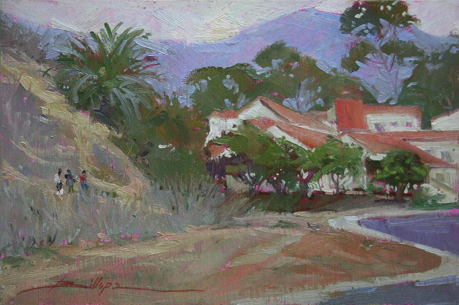 School Children Painting - Going Home  Catalina by Betty Jean Billups
