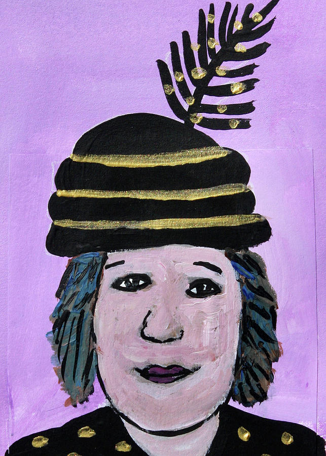 Altered Book Mixed Media - Gold and Black Feather Hat by Janyce Boynton