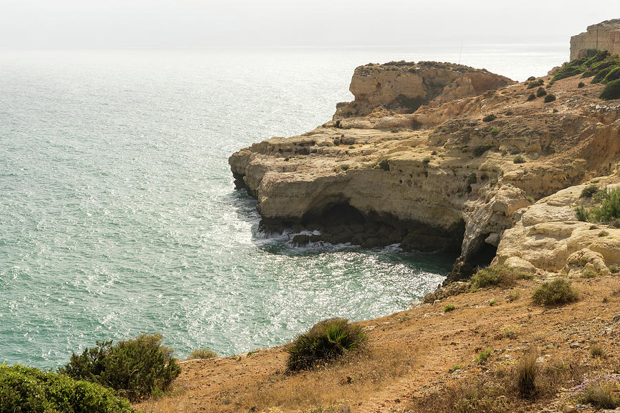 Gold Coast Going Silver - Misty Algarvian Clifftop View At Carvoeiro Portugal Photograph