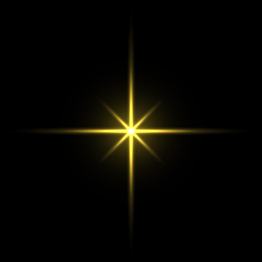 Gold light star on black background Drawing by Dimitris66