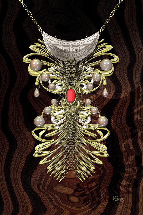 Golden Bejewelled Necklace Digital Art