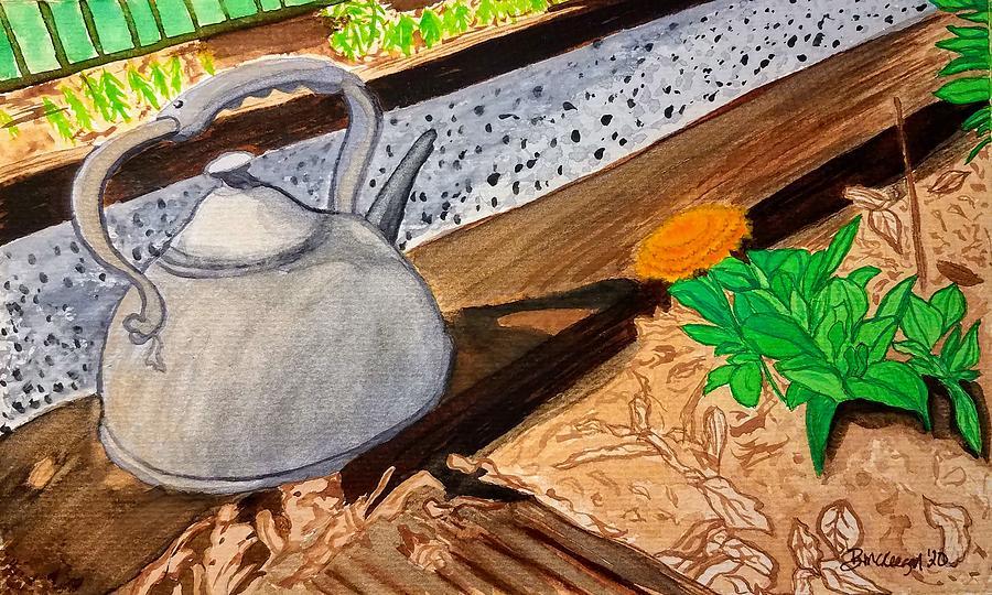 Teapot Painting - Golden by Bonnie McKeegan