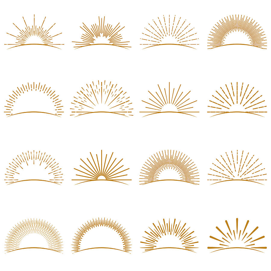 Golden Burst Sunset Rays Collection Drawing by Jobalou
