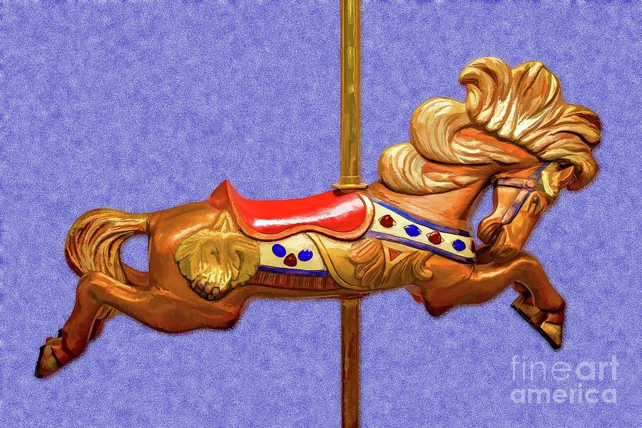 Golden Carousel Horse Da Digital Art