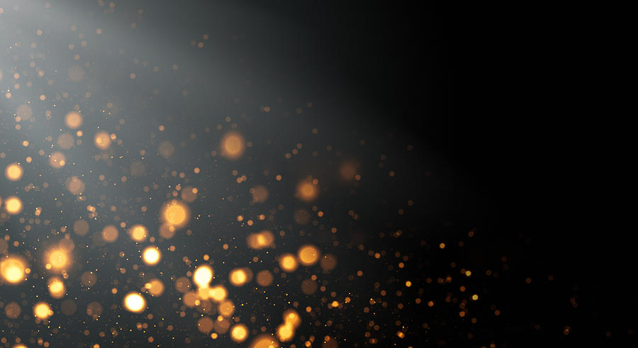 Golden Defocused Lights Background with Copy Space Drawing by Loops7