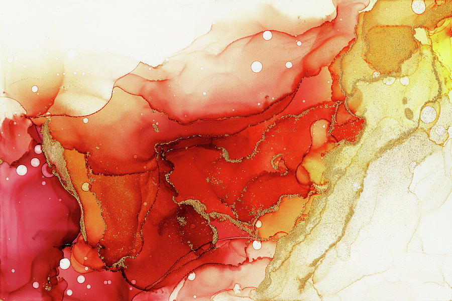 Abstract Ink Painting - Golden Flames Abstract Ink - Part 2 by Olga Shvartsur