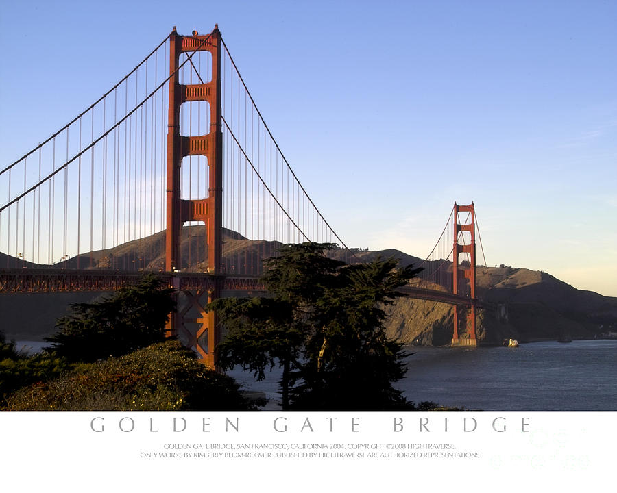 Golden Gate Bridge With Title Bar by Kimberly Blom-Roemer