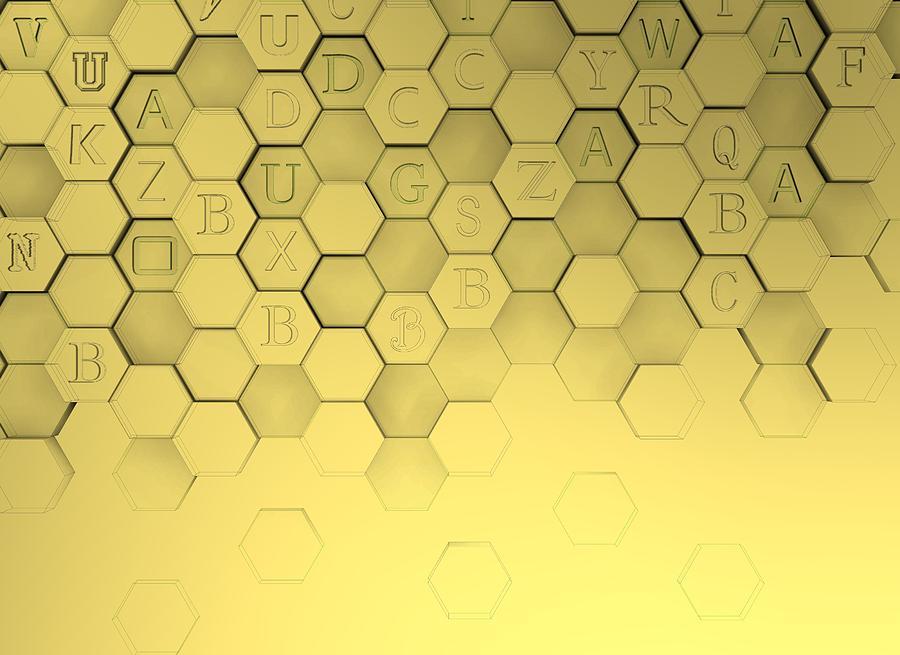 Golden Hexagons With 3d Shadows Digital Art