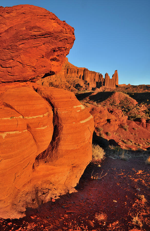Golden Hour At Fisher Towers Photograph