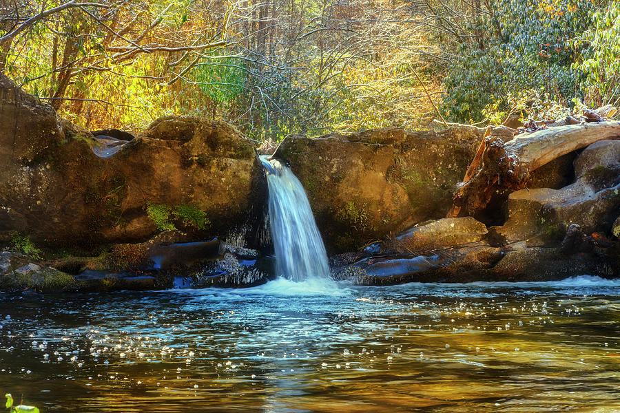 Golden Light at the Falls Landscape by Debra and Dave Vanderlaan