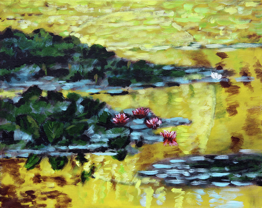 Water Lilies Painting - Golden Lily Pond by John Lautermilch