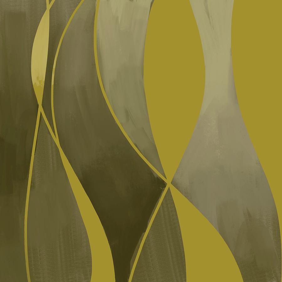 Golden Mirage - Contemporary Abstract Painting - Minimal, Modern - Yellow, Golden, Brown, Tan Mixed Media
