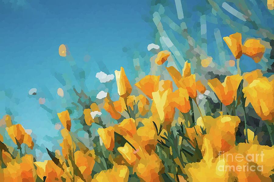Wildflowers Digital Art - Golden Orange Poppies Abstract Impressionist Flowers by Itaya Lightbourne