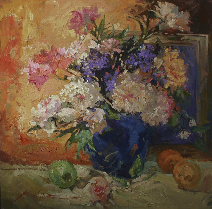 Golden Peonies Painting by Betty Jean Billups