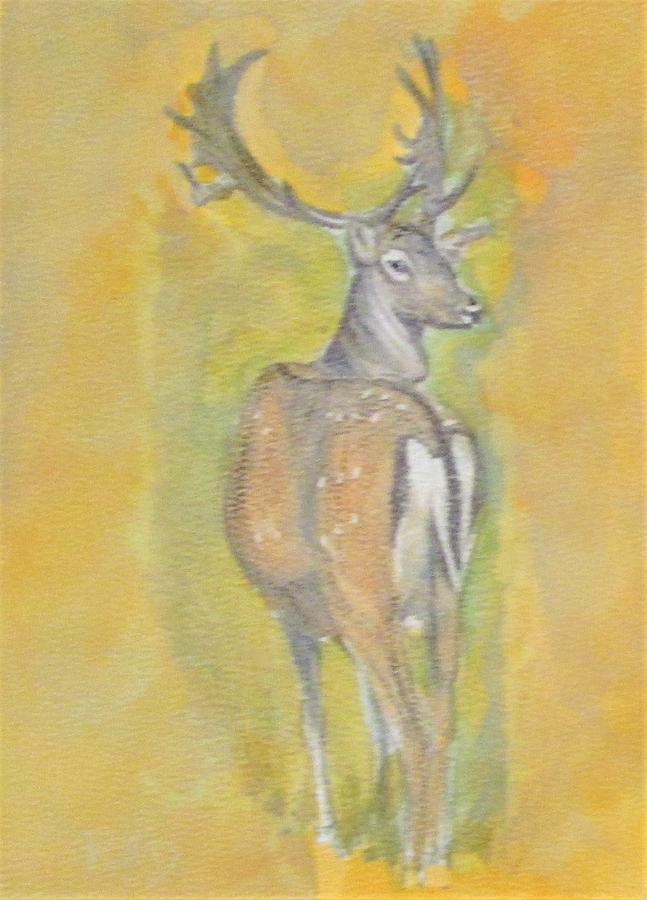 Golden Proud Stag Painting
