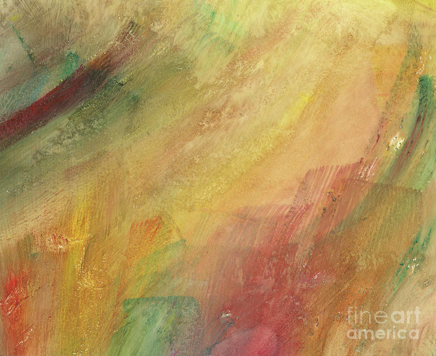 Abstract Painting - Golden Rain Abstract by Brandy Woods
