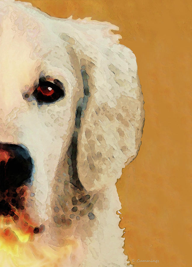 Golden Retriever Painting - Golden Retriever Half Face by Sharon Cummings by Sharon Cummings