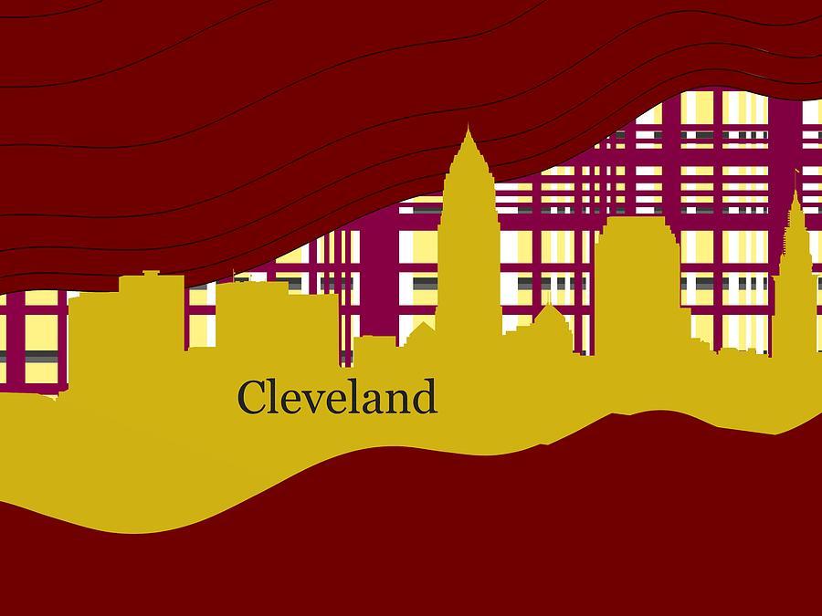 Golden Silhouette Of Sportive Cleveland Skyline Digital Art