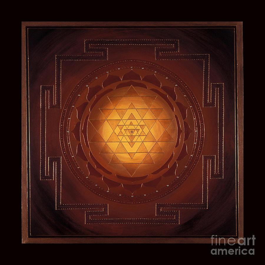 Mandala Painting - Golden Sri Yantra by Charlotte Backman