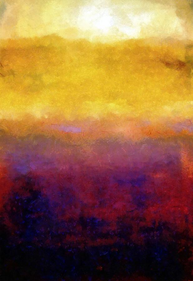 Abstract Painting - Golden Sunset by Michelle Calkins