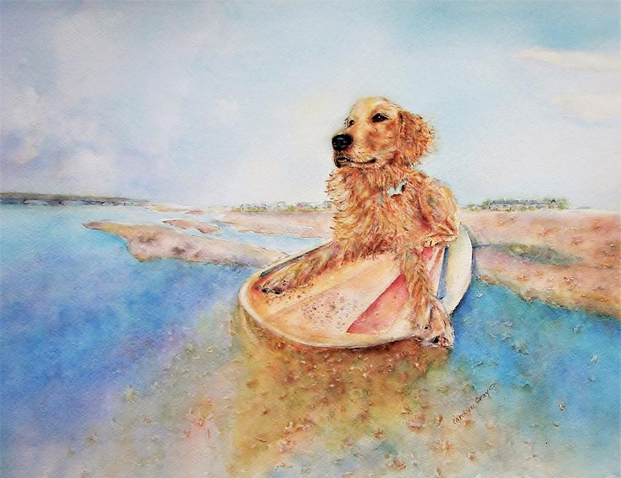 Golden Surfer Painting