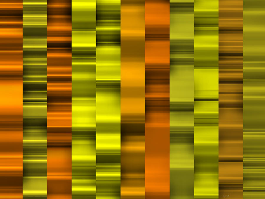 Golden Waves Striped Digital Art