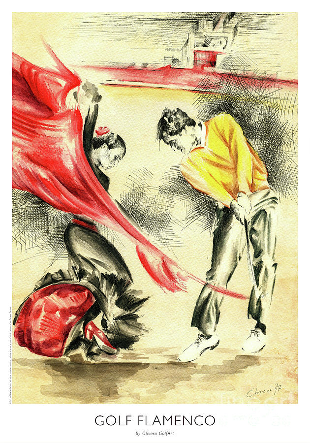Golfer Painting - Golf Flamenco - Poster by Olivera Cejovic