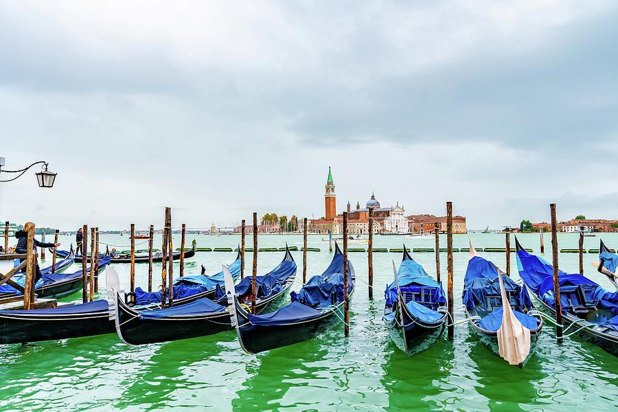 Gondolas in Venice, Italy -1- by Debbie Ann Powell