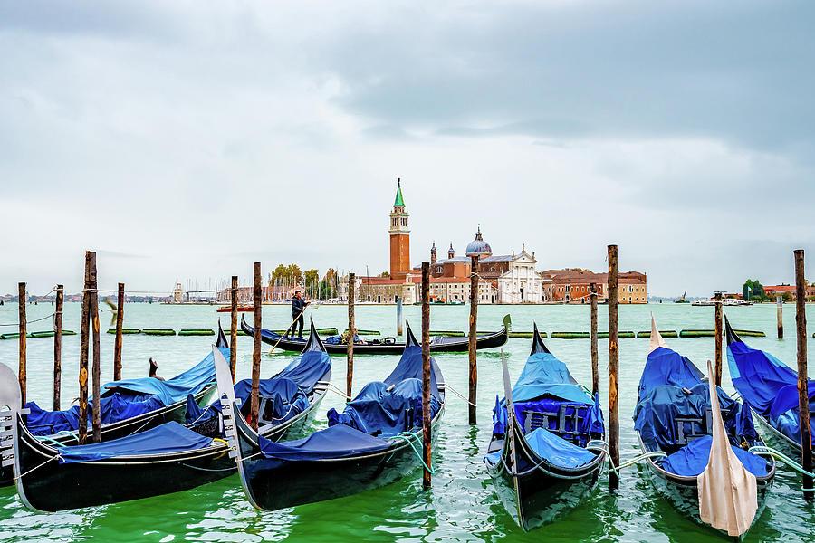 Gondolas in Venice, Italy -2- by Debbie Ann Powell