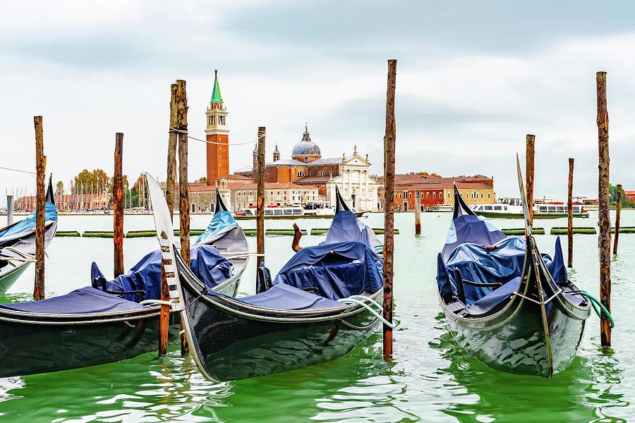 Gondolas in Venice, Italy -3- by Debbie Ann Powell