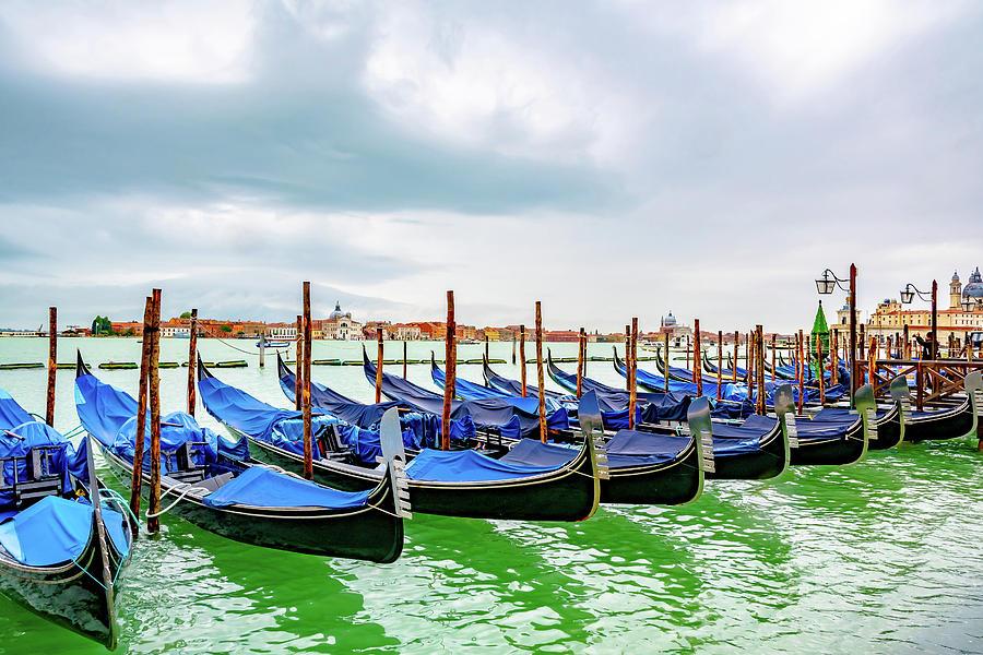 Gondolas in Venice, Italy -4- by Debbie Ann Powell