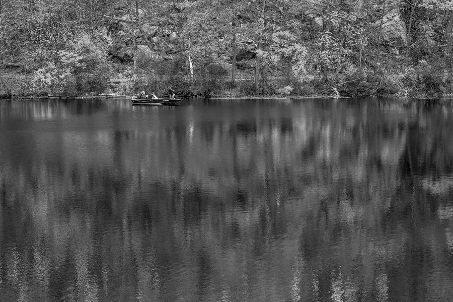 Gone Fishing In The Fall BW by Susan Candelario